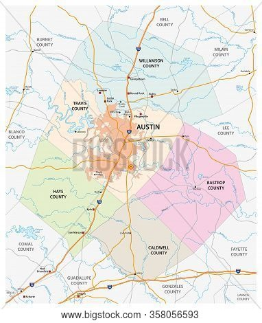 Road And Administrative Vector Map Of Greater Austin, Texas, United States