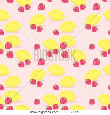 Fresh Lemons And Strawberry Seamless Pattern Vector. Hand Drawn Of Colorful Citrus Fruit. Summer Fru