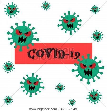 Corona Virus And Covid-19 Background. Cartoon Illustration.