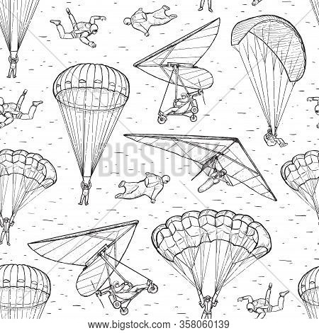 Extreme Sports Sketch Seamless Vector Pattern. People Performing Parachuting, Hang Glider, Wingsuit