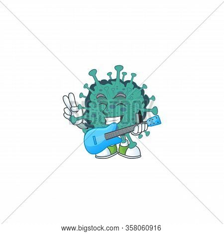 Supper Talented Critical Coronavirus Cartoon Design With A Guitar