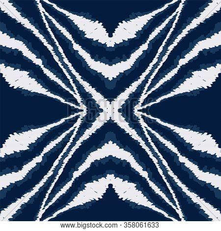 Aquamarine Tribal Graphic Vector Seamless Pattern. Japanese Drawing Batik Print. Repeat Aztec Design