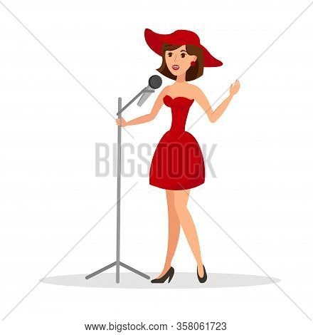Female Singer Performing Flat Vector Illustration. Singing Woman, Soloist, Vocalist With Microphone