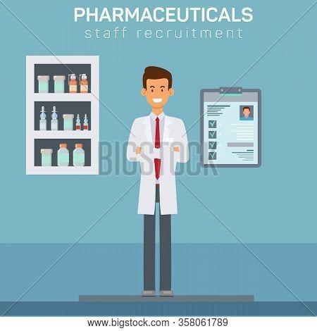 Drugstore Staff Recruitment Vector Banner Template. Pharmacy Worker, Pharmacist Wearing White Lab Co