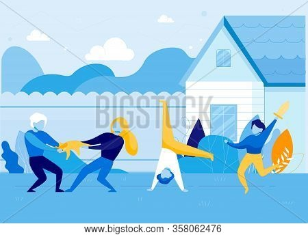Hyperactive Children On House Or School Backyard Flat Cartoon Vector Illustration. Kid Standing Upsi