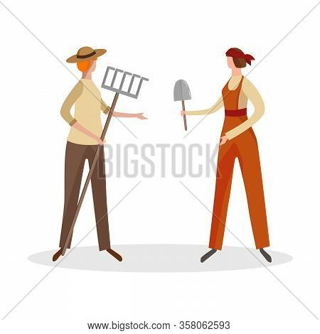 Couple Of Women Farmers Isolated On White Background. Faceless Female Characters In Working Robes Ho
