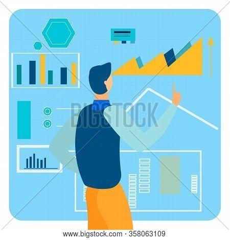 Market Analytics Report Flat Vector Illustration. Male Expert, Banker Analysing Statistical Data. Yo