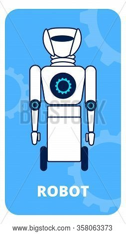 Humanoid On Wheels Flat Vector Poster Template. First Generation Robot Linear Illustration. Artifici