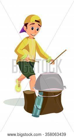 Cartoon Boy Drum Hit Camp Pot On Tree Stump With Stick Vector Illustration. Funny Kid Drummer, Percu