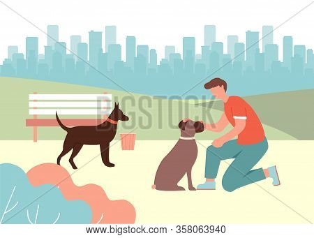 Cartoon Man Pet Sitting Dog. Doberman, Boxer Breed Meeting Vector Illustration. Dog Training, Obedie