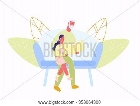 Grandfather Reads Little Granddaughter Book. Vector Illustration. Meeting With Relatives. Care Intim