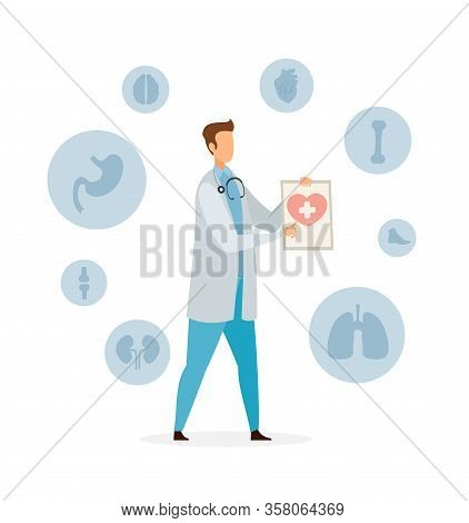 Healthcare And Medicine Flat Vector Illustration. Cardiologist, Therapist Cartoon Character. Human I