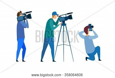 Film Crew, Press Conference Vector Illustration. People With Photo, Video Equipment Cartoon Characte