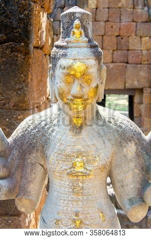 Partially Gilded Inage Of A Deity, Possibly Jayavarman Vii In Prasat Mueang Sing, A Khmer Temple In