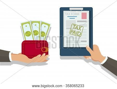 Businessman Paying Taxes Flat Vector Illustration. Financier Giving Bills Payment Form. Hand Holding