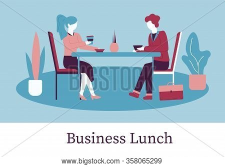 Business Lunch Banner. Cartoon Man Woman Sit Table In Cafe, Eat Food, Drink Coffee Vector Illustrati