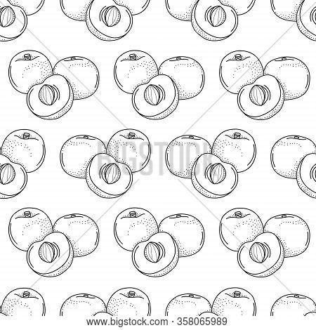Vector Seamless Pattern With Doodle Apricots; Hand Drawing Apricots For Fabric, Wallpaper, Packaging