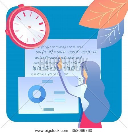 Education, Scientific Research Vector Illustration. Female Student Cartoon Character. Studying Mathe