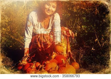 Woman Holding Hokaido Pumpkin In Organic Permaculture Garden, Old Photo Effect