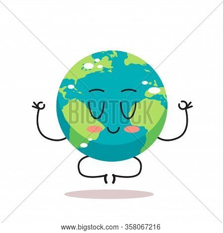 Cute Earth Character Sitting Lotus Pose Cartoon Mascot Globe Personage Save Planet Meditation Concep
