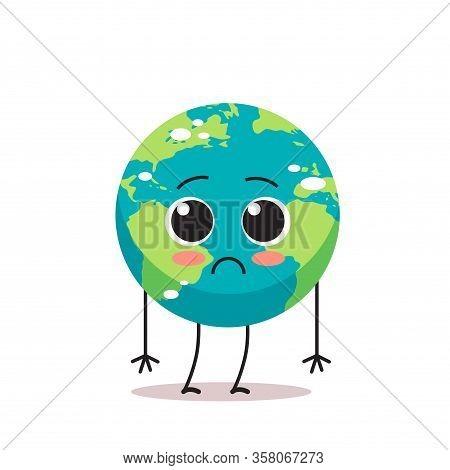 Sad Earth Character Unhappy Cartoon Mascot Globe Personage Say No Plastic Climate Change Save Planet