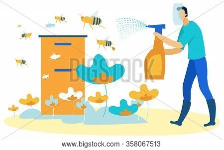 Man With Spray Gun In Hands Squirting On Flying Bees. Vector Illustration. People On Farm. Natural P