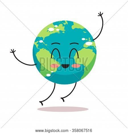 Cute Earth Character Waving Hand Cartoon Mascot Globe Personage Save Planet Concept Isolated Vector