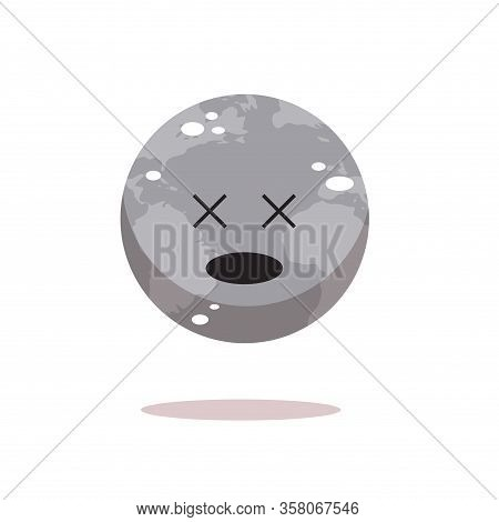 Sad Earth Character Unhappy Cartoon Mascot Globe Personage Showing Sick Face Say No Plastic Bad Ecol