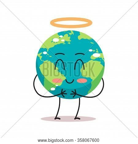 Cute Earth Character Angel With Nimbus Cartoon Mascot Globe Personage Showing Facial Emotion Save Pl