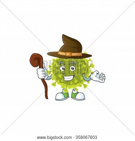 Sweet And Tricky Witch Global Coronavirus Outbreak Cartoon Character