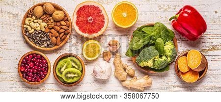 Foods That Boost The Immune System, Top View.
