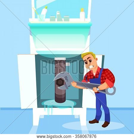 Little Plumber In Work Wear, Trying To Fight Huge Water Leak Under Washbowl In Customers Bathroom Wi