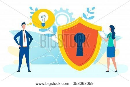 Data Protection Concept Flat Vector Illustration. Huge Shield With Keyhole Inside. Security Expert,