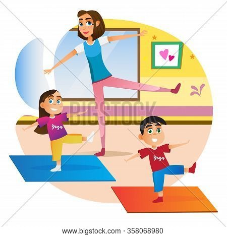 Family Yoga Practice. Cartoon Mother With Children Doing Exercise On Floor Mat Vector Illustration.
