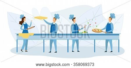 Cooks Team Preparing Pizza Together Illustration. Cartoon Chef Characters Kneading Dough With Rollin