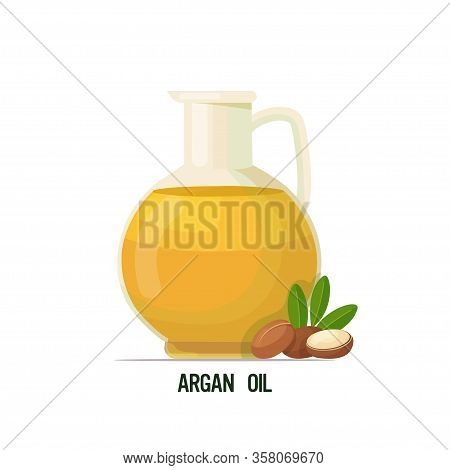 Fresh Argan Oil Glass Bottle With Seeds And Leaves Isolated On White Background Vector Illustration