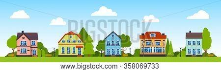 Street with houses, green trees, bush, clouds, lantern flat cartoon panoramic horizontal banner. Urban small town landscape. City outdoor. Suburban village neighborhood. Cityscape Vector illustration