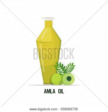 Fresh Amla Oil Glass Bottle With Green Berries And Leaves Isolated On White Background Vector Illust