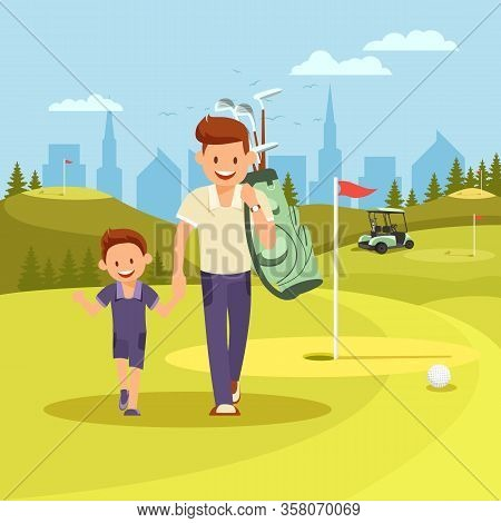 Cheerful Young Man Holding Hands With Son Going To Play Golf At Green Course In Summer Sunny Day. Ha