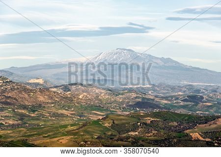 Landscape Of Famous Etna Volcano Viewed From Enna With Cloudy Sky
