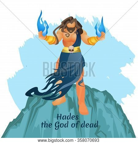 Ancient Mythological Greek Underworld God Aidis, King Of Dead Hades Or Pluto Stand On Top Of Olympus