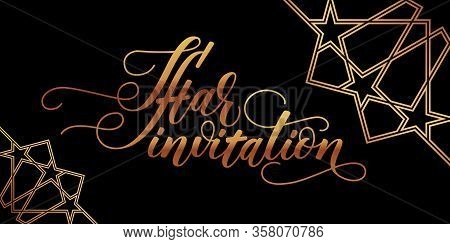 Iftar Invitation Card On Black Background. Gold Modern Brush Calligraphy. Vector Illustration