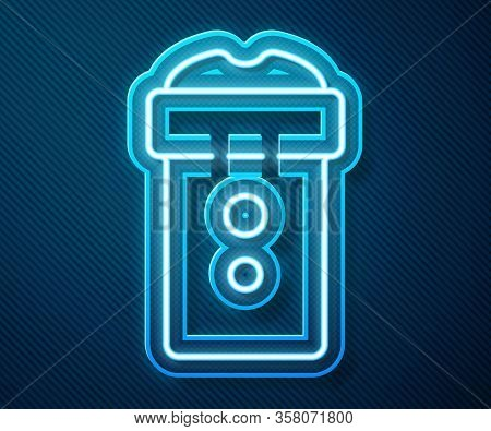 Glowing Neon Line Vagina Masturbator Icon Isolated On Blue Background. Sex Toy For Man. Vector Illus