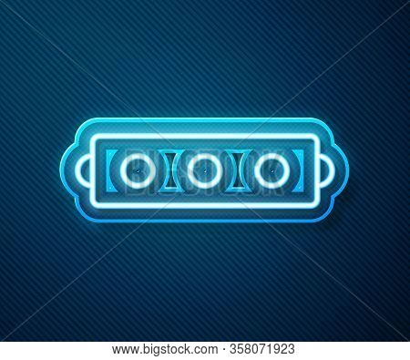 Glowing Neon Line Silicone Ball Gag With A Leather Belt Icon Isolated On Blue Background. Fetish Acc