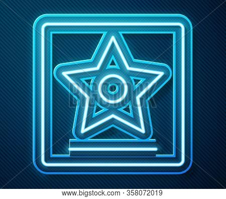 Glowing Neon Line Hollywood Walk Of Fame Star On Celebrity Boulevard Icon Isolated On Blue Backgroun
