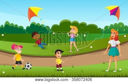 Cartoon Children Play With Flying Kyte In Green Field Vector Illustration. Woman With Kids In Park.