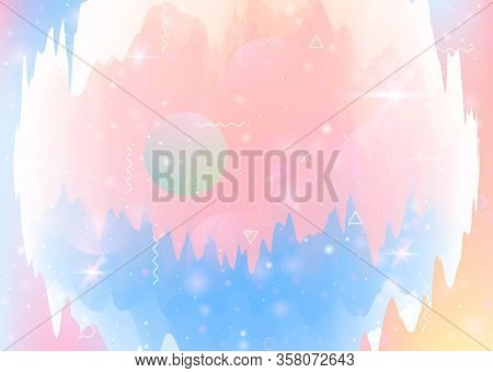 Universe Landscape With Holographic Cosmos And Abstract Future Background. 3d Fluid. Girlish Mountai
