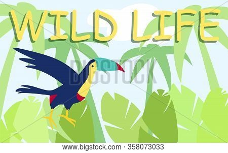 Blue Parrot Flies On Background Sky And Palm Trees. Wild Life. Country Cult. Fiesta Of Brazil. Vecto