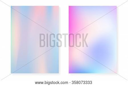 Hologram Gradient Background Set With Holographic Cover. 90s, 80s Retro Style. Pearlescent Graphic T