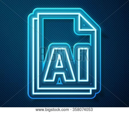 Glowing Neon Line Ai File Document. Download Ai Button Icon Isolated On Blue Background. Ai File Sym